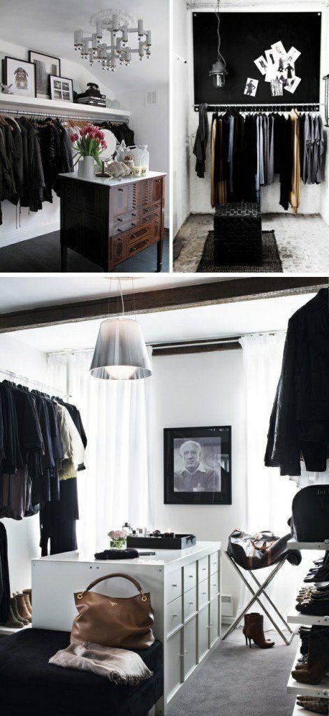 kommode monochromatisch ankleidezimmer kleiderschiene ...