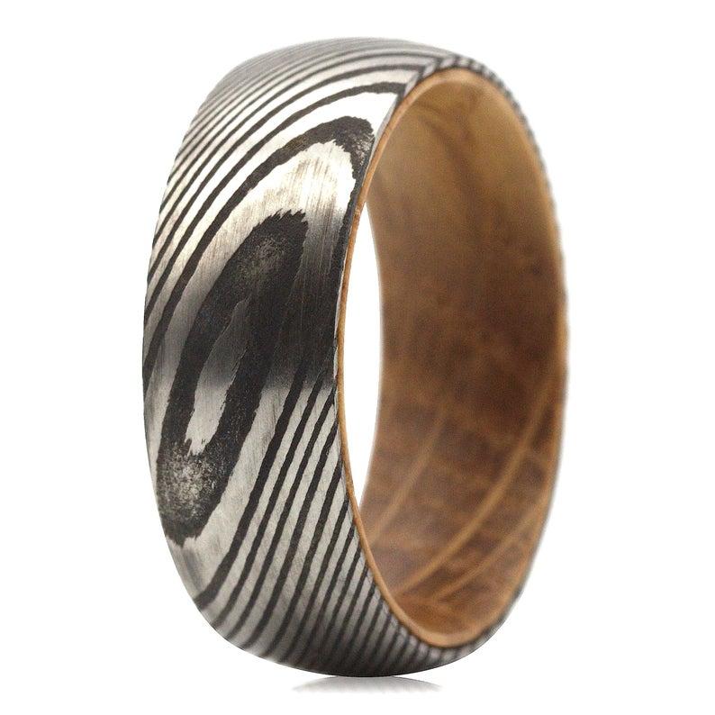 Whiskey Barrel Ring Mens Wedding Band Wood Inlay Ring