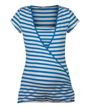 Love this Cobalt & White Summer Stripe Nursing Top by Queen mum