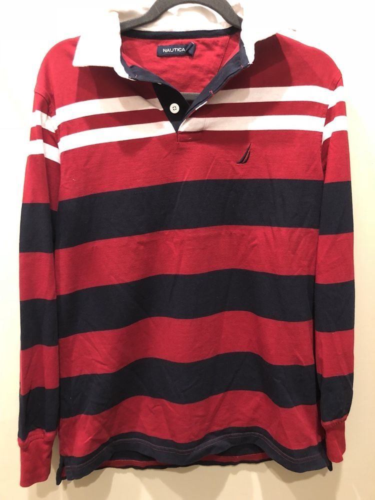 756bbd67 Vintage Nautica Rugby Polo Long Sleeve Mens Small | eBay | Selling ...