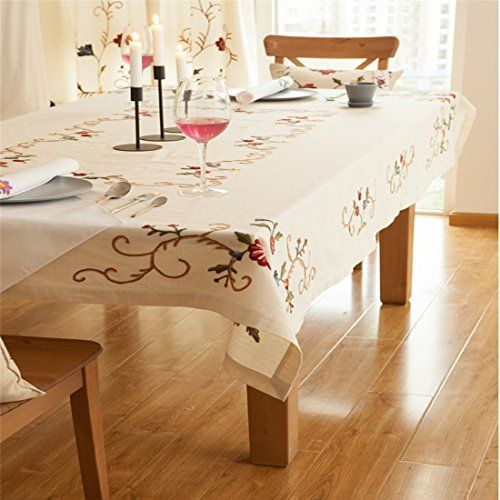 Ethomes Spring Cream Handmade Embroidery Flower Dining Tablecloths Enchanting Tablecloth For Dining Room Table Decorating Inspiration
