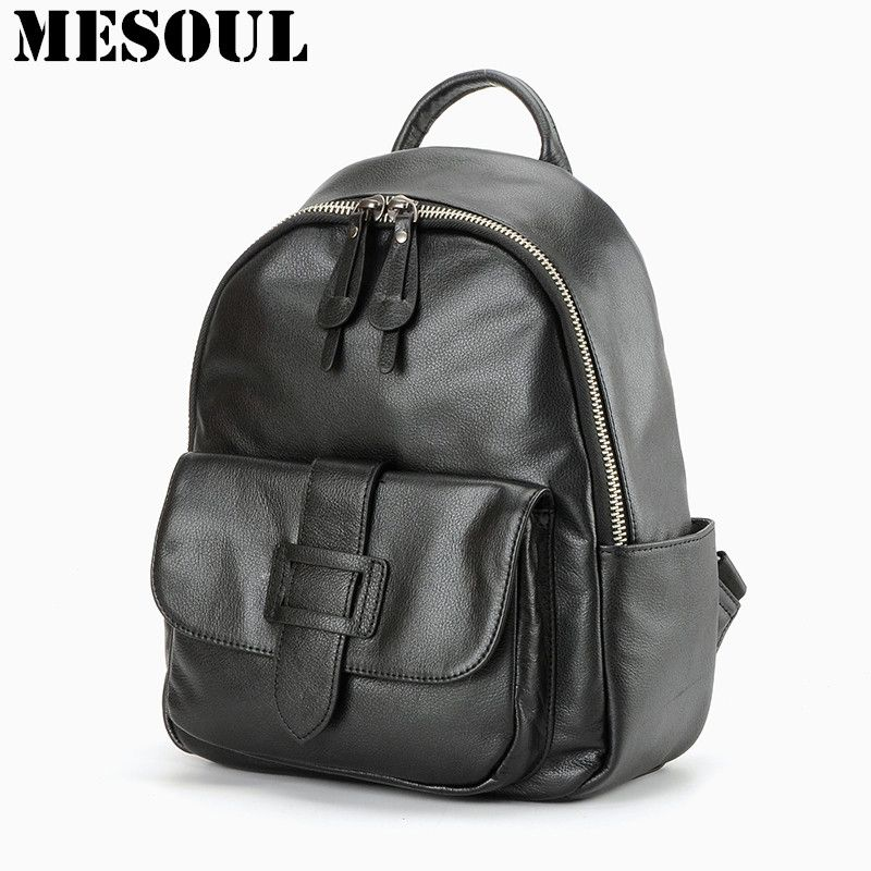 MESOUL Famous Brand Backpacks Fashion Daily Backpack Women Natural Soft Real  Leather Travel Shoulder Tote Bags Girls School Bags 292bd1a710