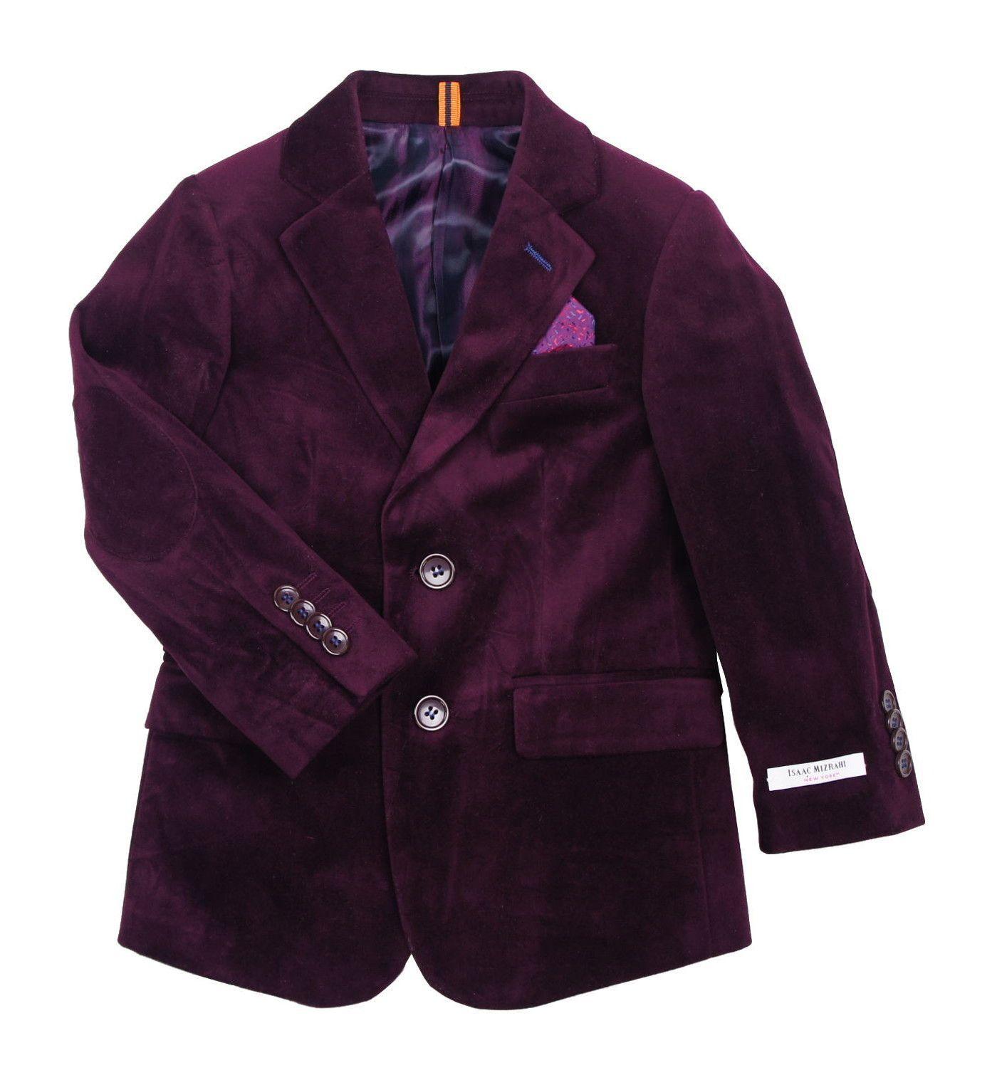 Isaac Mizrahi Boys Burgundy Velvet Blazer