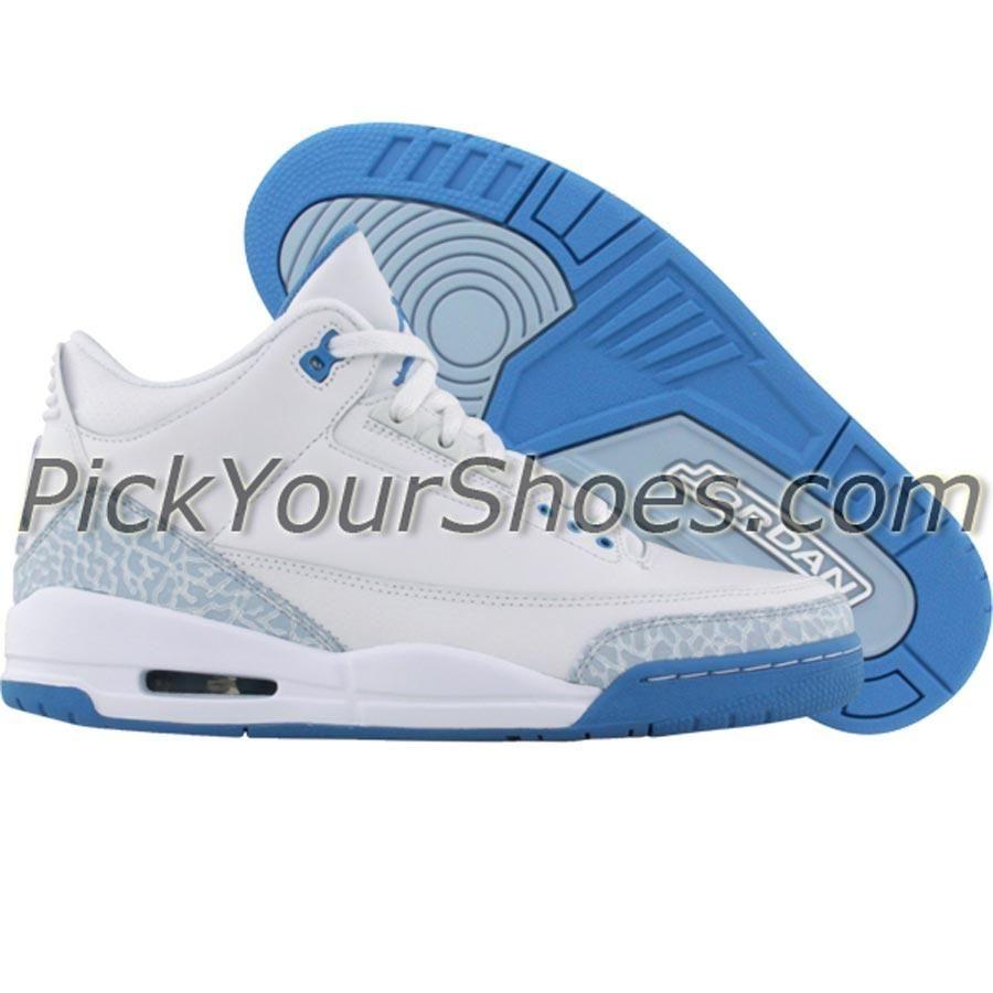 1d049020e6d9 Nike Womens Air Jordan 3 Retro (white   harbor blue   boarder blue) 315296- 142 -  149.99