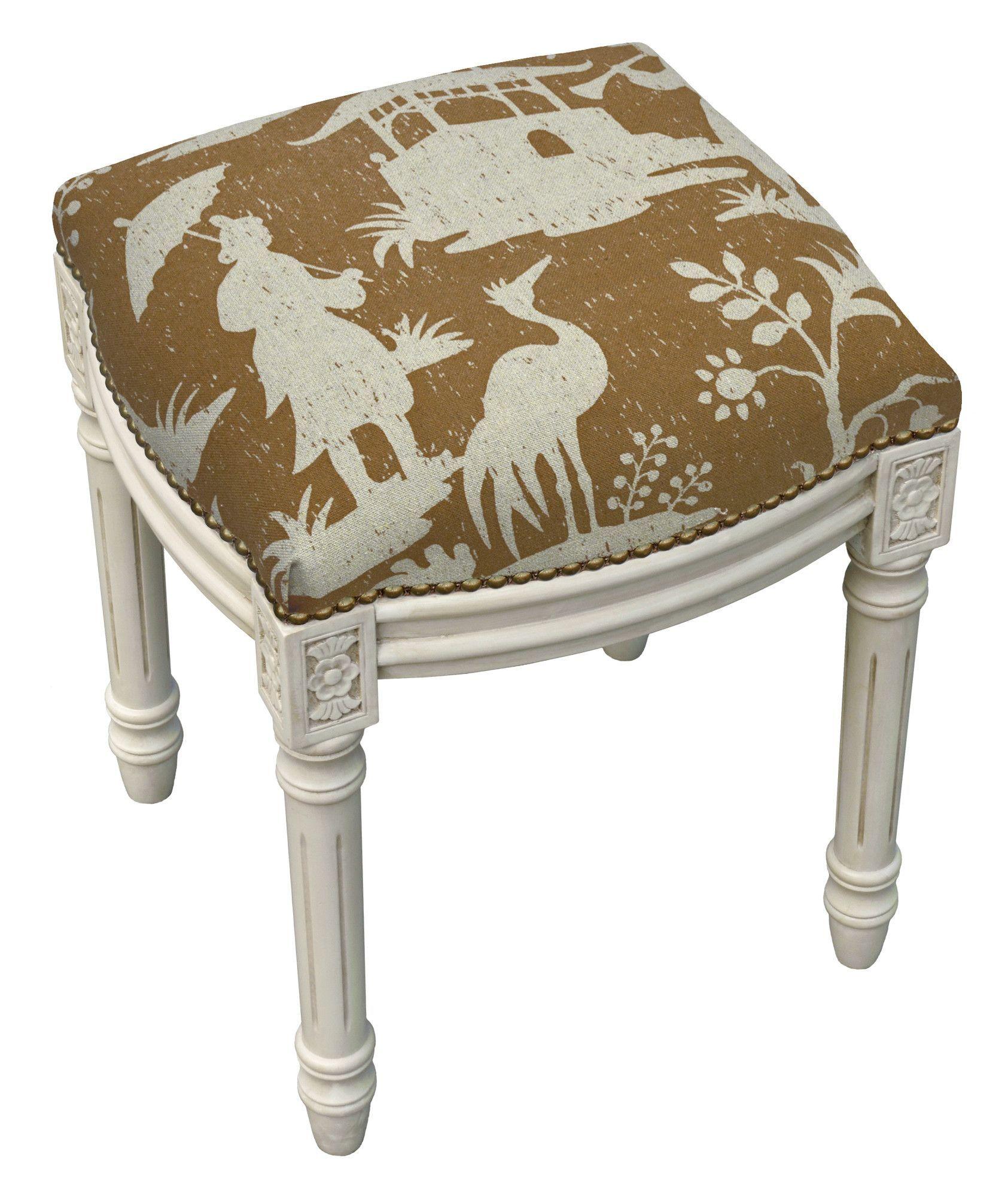 Floral Chinoiserie Linen Upholstered Vanity Stool Vanity
