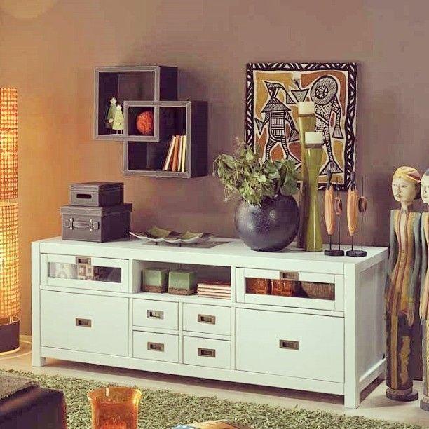Nepal mueble tv de banak importa white wood for Mueble tv banak