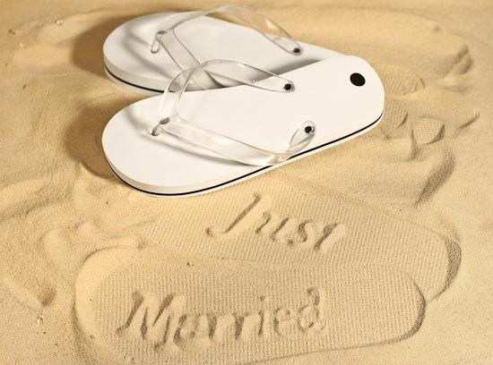 19a716792e50ea Just married flip flops for the honeymoon. Fun engagement or wedding gift.