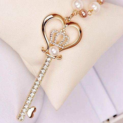 Beautiful heart crown key pendant imitation pearl necklace beautiful heart crown key pendant imitation pearl necklace aloadofball Image collections
