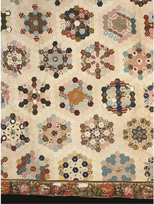 Christie's : Hexagons with nice Chintz printed border. Mid 19th century with some earlier prints.