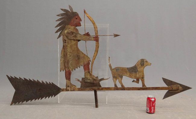 Sheet metal Native American with bow and dog weathervane