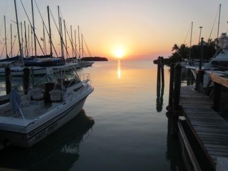 Marina at Florida sea base in the Florida keys with a flawless Florida sunset