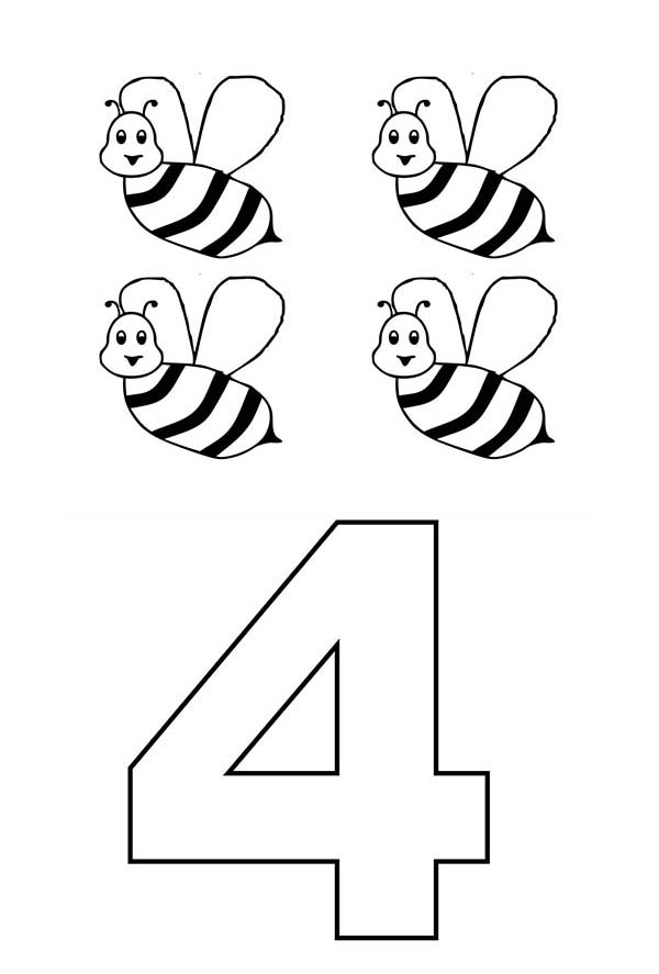 Learn Number 4 With Four Bees Coloring Page Bulk Color Bee Coloring Pages Coloring Pages Online Coloring
