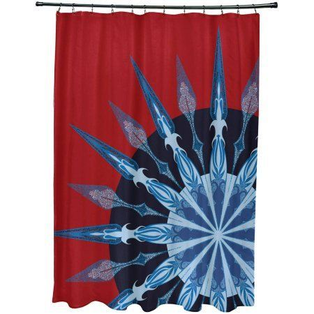 Simply Daisy 71 Inch X 74 Sailors Delight Geometric Print Shower Curtain Red