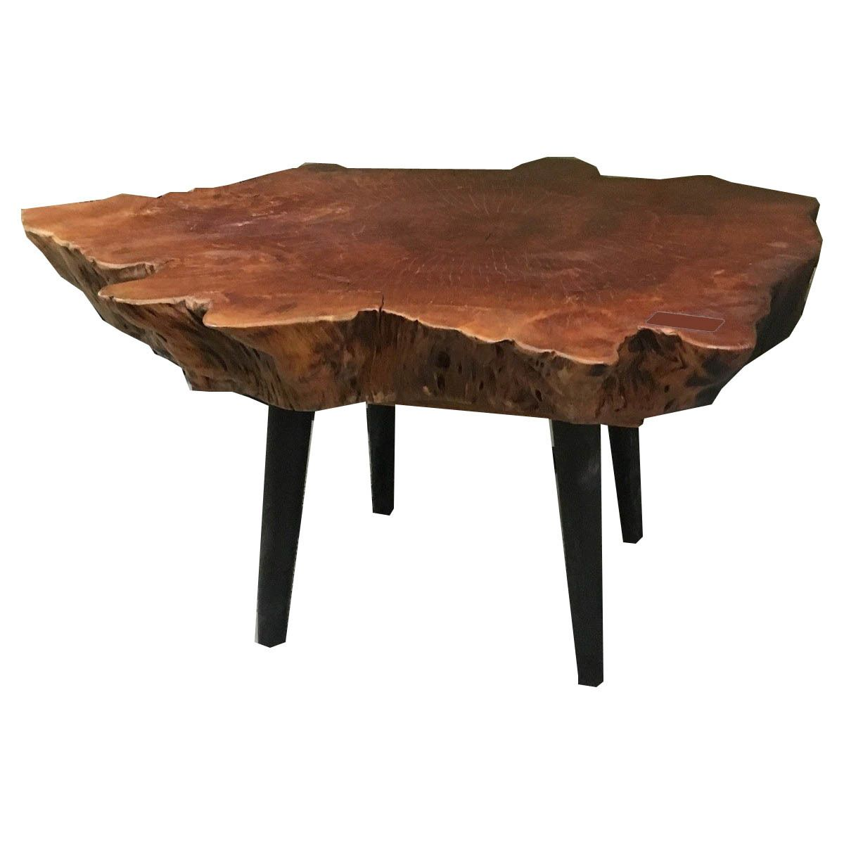 36x31 Inch Lychee Wood Coffee Table With Black Wooden Legs Mohr