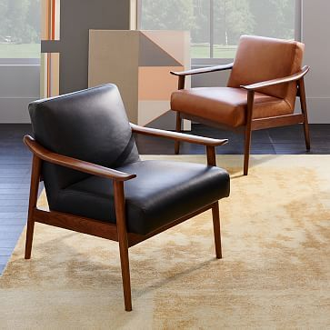Mid Century Leather Show Wood Chair Living Room Chairs Mid