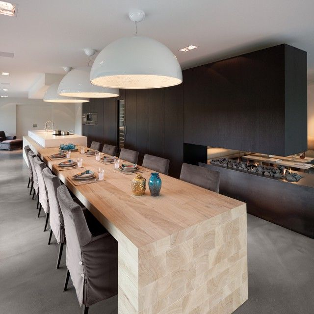 Luxe eettafel in moderne woonkamer met open haard   Keuken   Pinterest