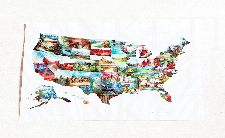 USA map85x11 Art Print Watercolor USmap USA map with States