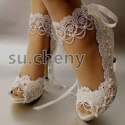 Su Cheny 3 4 Heel White Ivory Satin Lace Ribbon Peep Toe Wedding Bridal Shoes Bridal Shoes Wedding Shoes Bride Wedding Shoes