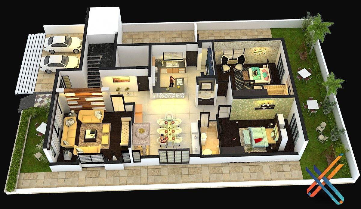 3d Floor Plan I Ground Floor I 5 BHK Bungalow.