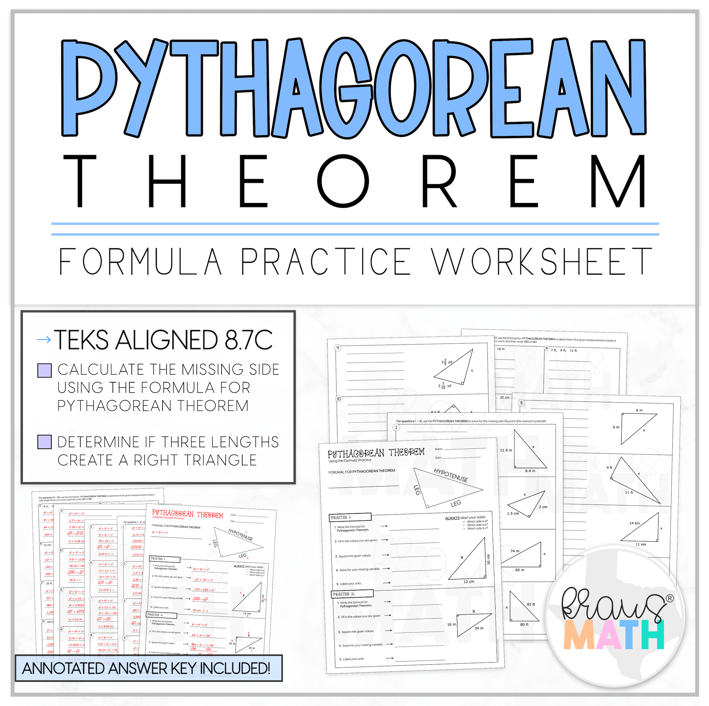 Pythagorean Theorem Guided Practice Worksheet Teks 8 7c Kraus Math 8th Grade Math Math Practices Worksheets