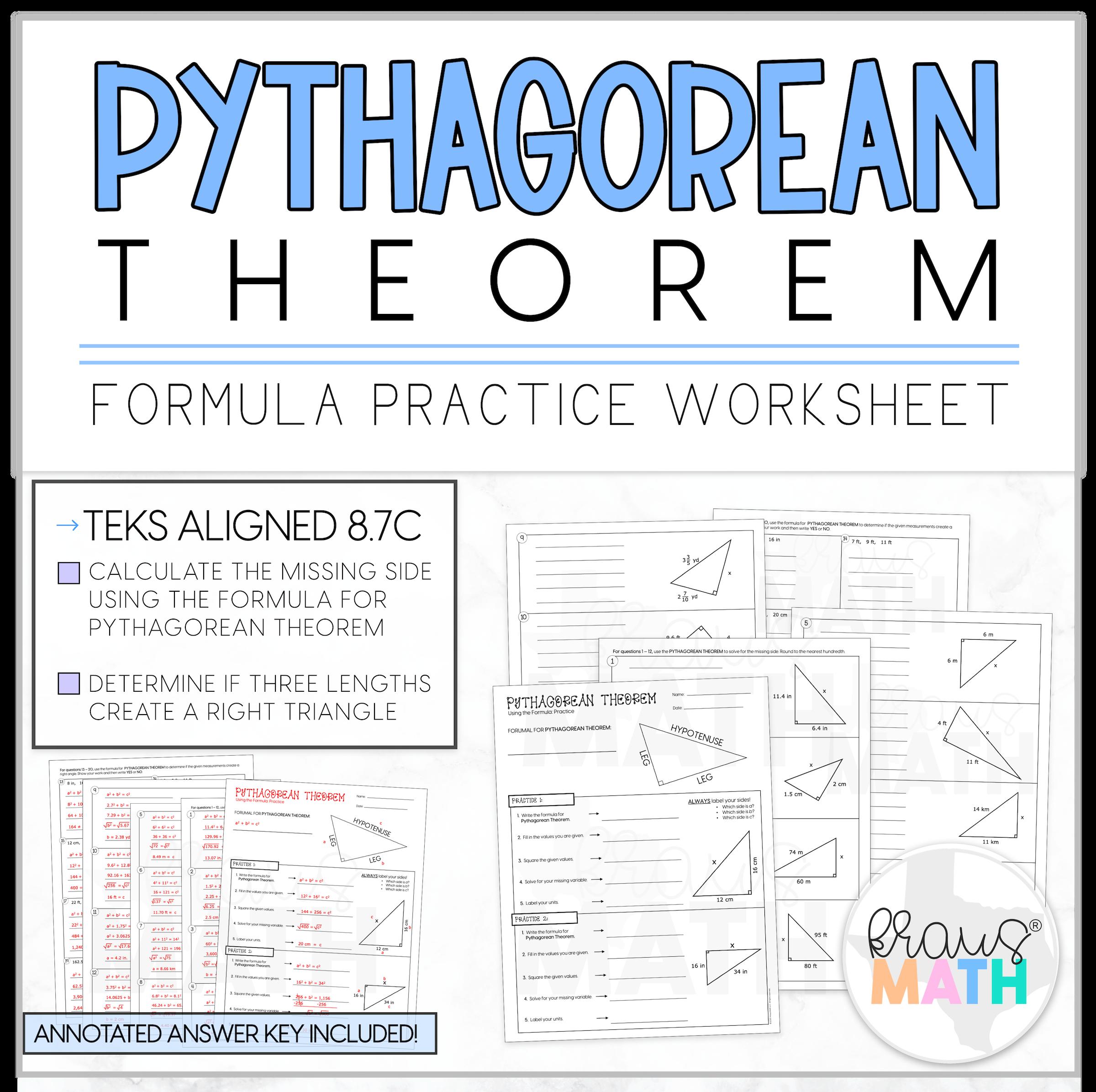 Pythagorean Theorem Guided Practice Worksheet Teks 8 7c