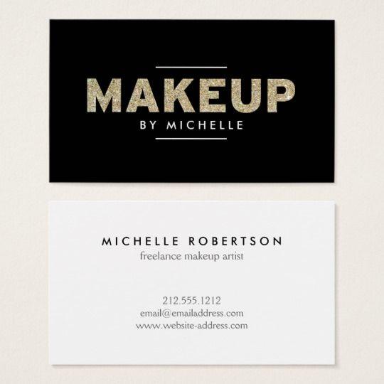 Modern Gold Glitter II Makeup Artist Business Card