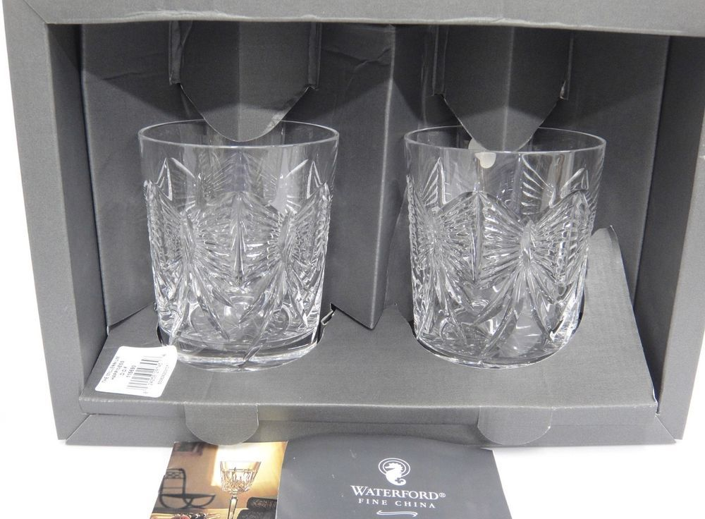 Waterford Crystal Millennium Happiness 2 Toasting Double Old Fashions Signed Box Waterford Waterford Crystal Glass Cup Set