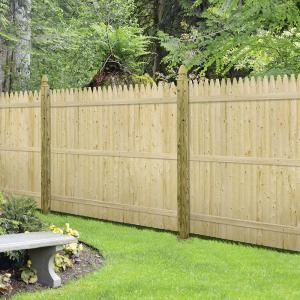 Barrette 6 Ft H X 8 Ft W Flat Rough Sawn Stockade Fence Panel 73000470 The Home Depot In 2020 Stockade Fence Fence Panels Wood Fence