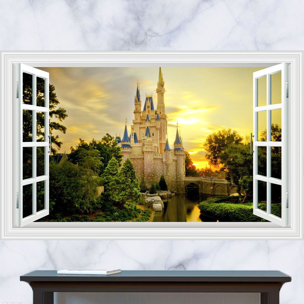 Generic 3D Windows Cartoon Princess King Castle Forest Wall Decal ...