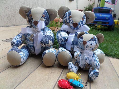 Família de Ursos, Confeccionado em tecido 100% Algodão!