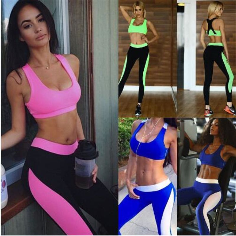 34bf63e5aa Women Athletic Gym Yoga Clothes Running Fitness Sports Bras + Compression  Pants set Sexy Back Four