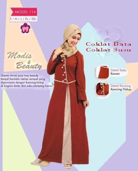 Baju Gamis Mutif M114 Coklat Pramuka Best Seller Kode Mutif 114