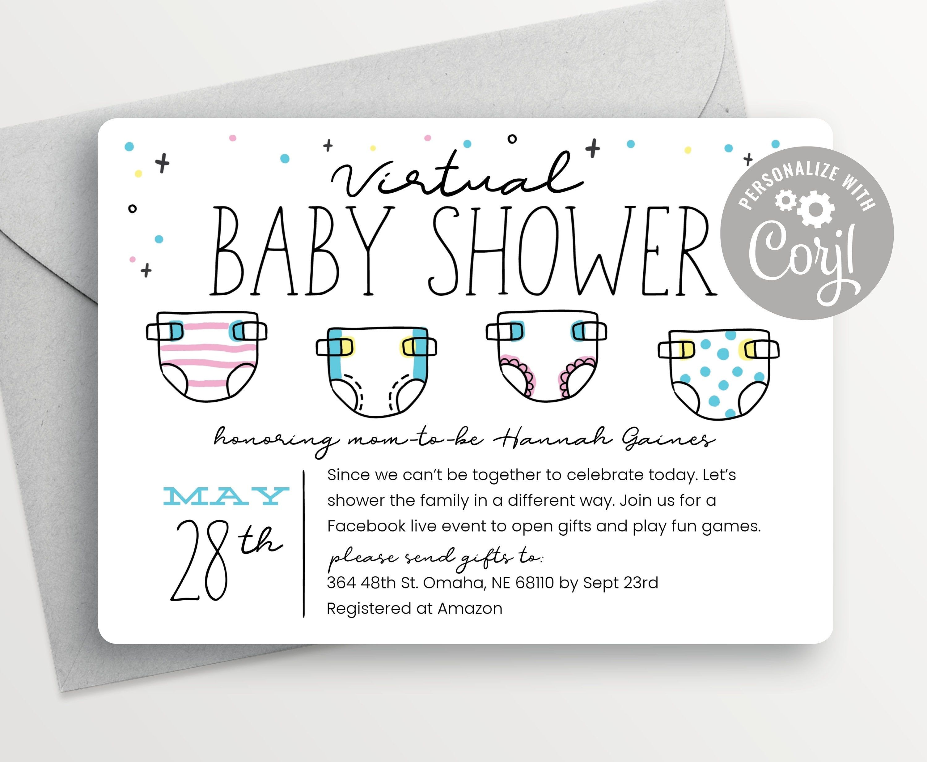 Shower By Mail Diaper Baby Shower Invitation Virtual Gender Etsy Baby Shower Invitations Diaper Baby Shower Invitations Baby Shower Diapers Diaper baby shower invitations template