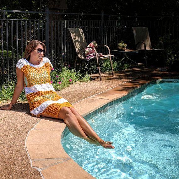 5c7c1d4e60 Crochet Beach Dress Pattern, Sanibel Pool Cover Up Crochet Pattern, Instant  PDF Download