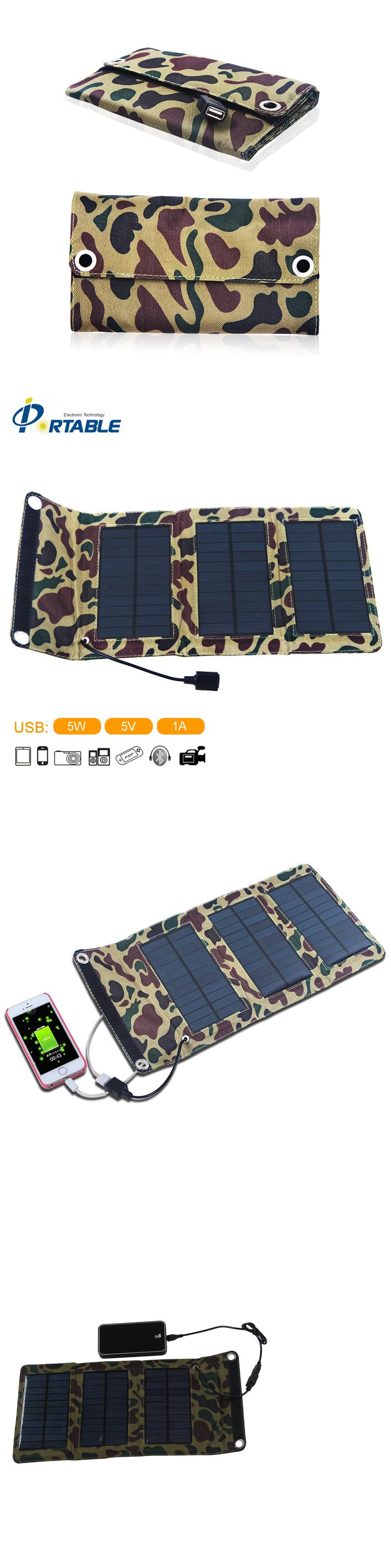 5w portable solar charger outdoor folding charger bag solar panel in