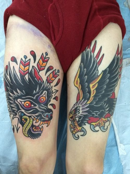 tattoos american traditional wolf dogs old school tattoos ...