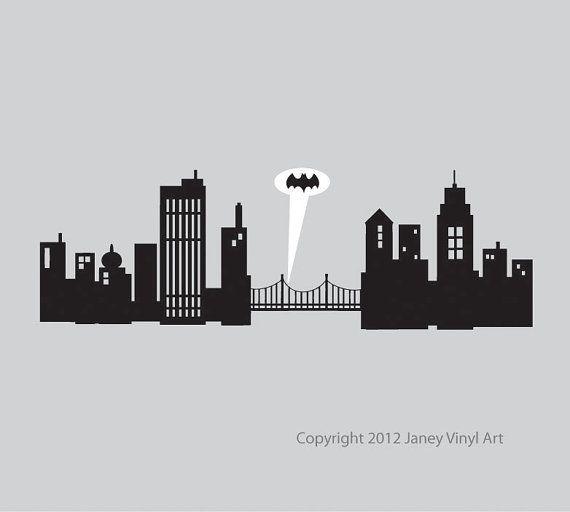 Extra Large Gotham City Decal 80 Inches Wide Superhero Room Gotham City Skyline Batman Bedroom