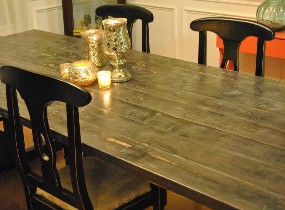 Farmhouse Table Using Repurposed Base And Six Layer Painting Method Refinished Pottery Barn Chairs