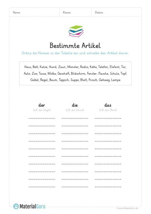 ein kostenloses arbeitsblatt zum thema artikel auf dem die sch ler nomen den bestimmten. Black Bedroom Furniture Sets. Home Design Ideas