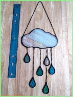Beaded Wind Chimes Ideas  Stained Glass Puffy Cloud with Raindrops 319  Etsy crafts to make and sell wind chimes Beaded Wind Chimes Ideas  Stained Glass Puffy Cloud with...