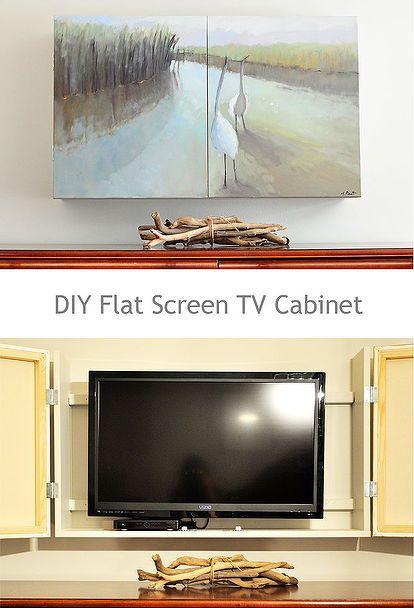 Diy Flat Screen Tv Cabinet Fernseher Verstecken Tv Wandschranke Flachbildfernseher