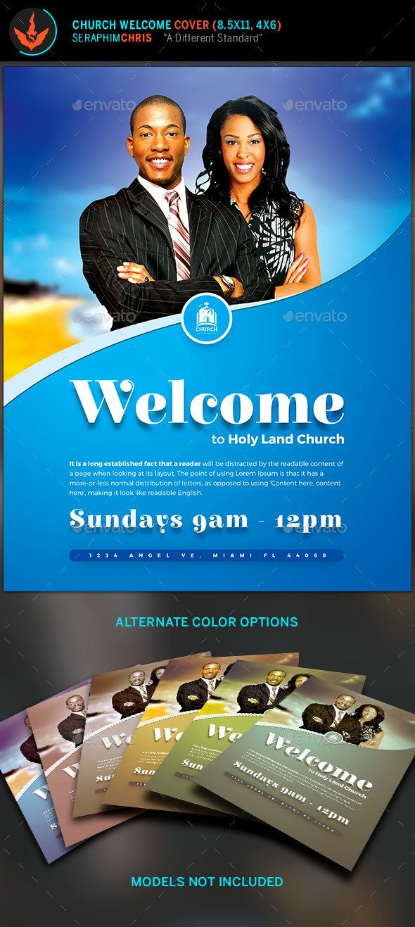 church welcome cover template bright blues with a warm
