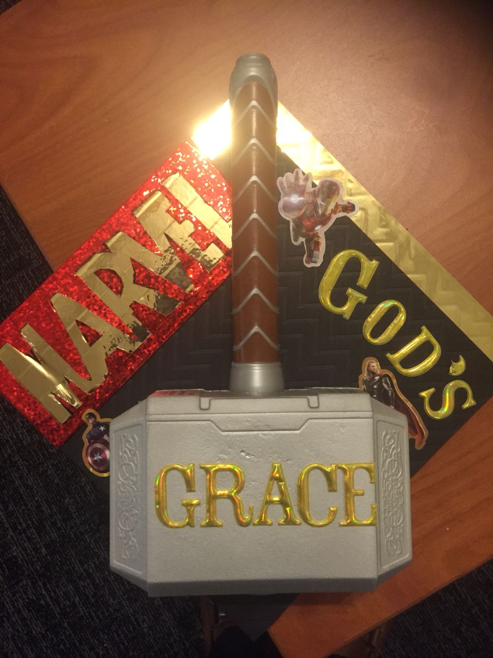 My Custom Graduation Cap God S Grace Is Might To Save Just Like Thor S Hammer