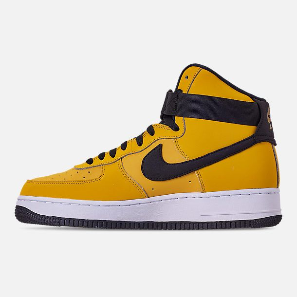 brand new 6a137 d42c2 Left view of Men s Nike Air Force 1  07 High Leather Casual Shoes in Yellow  Ochre