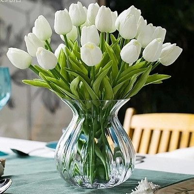 Aliexpress Com Buy 24pcs Lot White Tulip Artificial Flowers Wedding Home Table Decor Real To Fake Flowers Decor Tulips Arrangement Flower Arrangements Simple