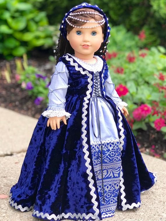 Italian Renaissance - One of a Kind historic gown for 18 inch doll #historicaldollclothes