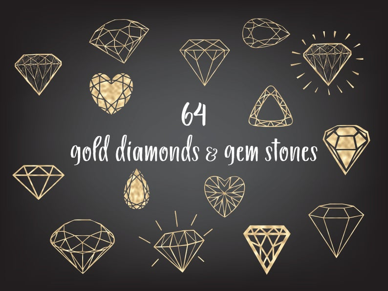 Gold Diamonds Clipart Gold Gems Clipart Etsy In 2021 Diamond Drawing Diamond Graphic Wedding Clip