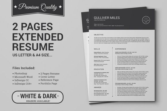 2 Pages Resume Cv Extended Pack Resume Cv Resume Templates Resume Template Professional