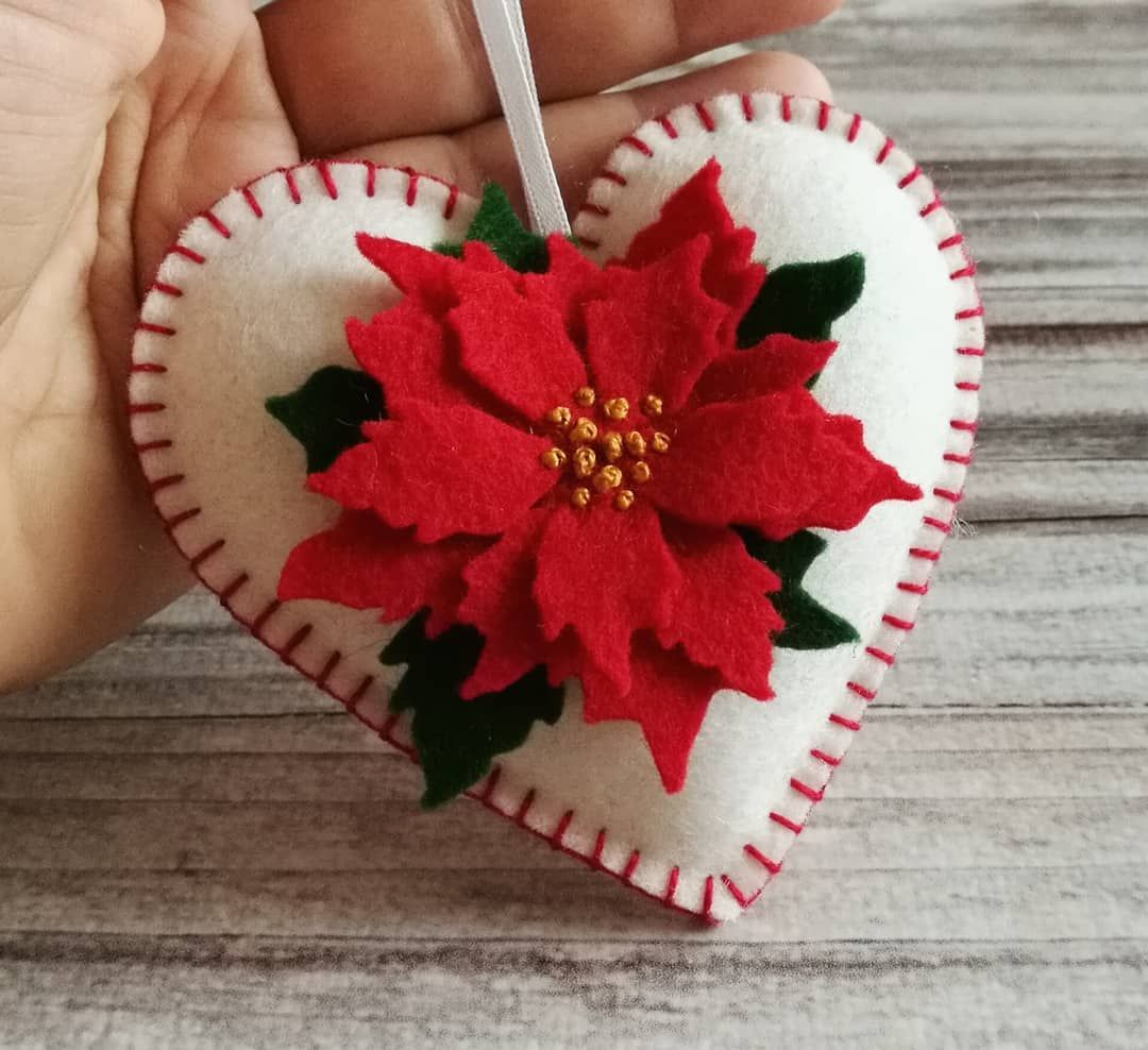 Back To Classics Red Poinsettia On White Christmas Ornament Dusicrafts Felt Christmas Ornaments Diy Felt Christmas Ornaments Felt Crafts Christmas