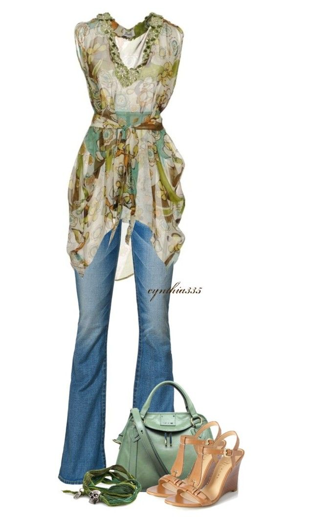 """""""Colorful Kaftan"""" by cynthia335 ❤ liked on Polyvore featuring True Religion, Marc Jacobs and Ivanka Trump"""